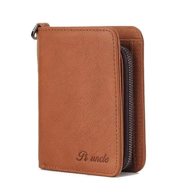 Men's Rfid Bifold Genuine Leather Wallet Zipper Purse - Cosmas Collections