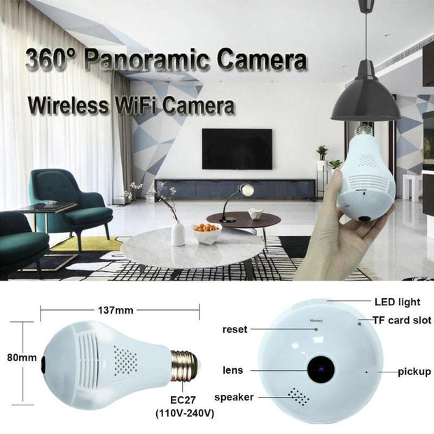 Panoramic Home Security IP Camera Bulb - Cosmas Collections