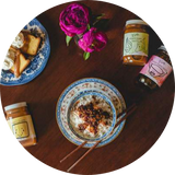 Mott St. collection of sauces with homemade food