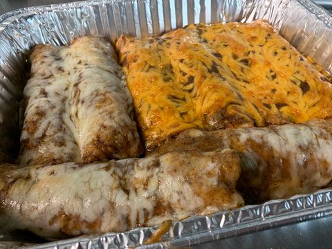 Four Beef and Four Chicken Enchiladas - COOKED FAMILY MEAL