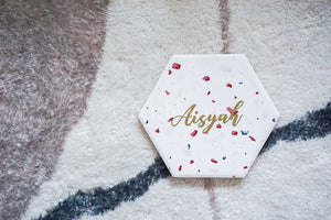 Customised Terrazzo Hexagon Coaster (3 Designs)