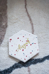 Customised Red Terrazzo Hexagon Coaster