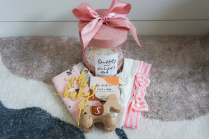 Pink Baby Shower Ribbon Round Box with Customised Initial Wooden Toy, Headbands and Cotton Bibs