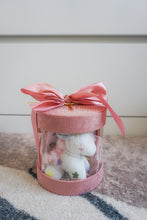 Load image into Gallery viewer, Pink Baby Shower Ribbon Round Box with Unicorn Plushie, Headbands and Cotton Bibs