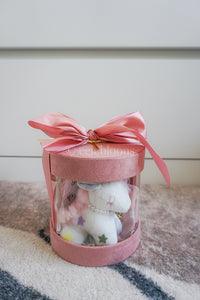 Pink Baby Shower Ribbon Round Box with Unicorn Plushie, Headbands and Cotton Bibs