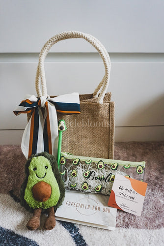 Avocado Collection: Jute Bag with Sash Tie, Customised Pencil Case, Pen and Plushie Keychain