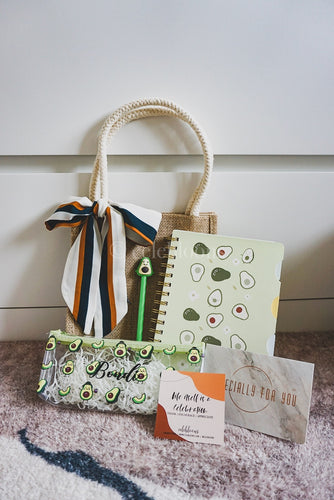 Avocado Collection: Jute Bag with Sash Tie, Customised Pencil Case, Pen and Ring Notebook