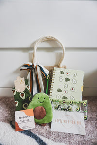 Avocado Collection: Jute Bag with Sash Tie, Customised Pencil Case, Pouch, High Socks, Notebook and Pen
