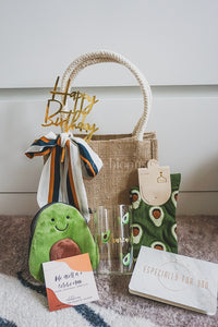 Avocado Collection: Jute Bag with Sash Tie, Customised Mug, Pouch and High Socks