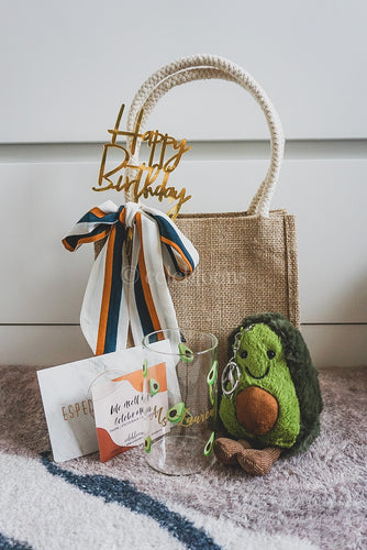 Avocado Collection: Jute Bag with Sash Tie, Customised Mug and Plushie Keychain