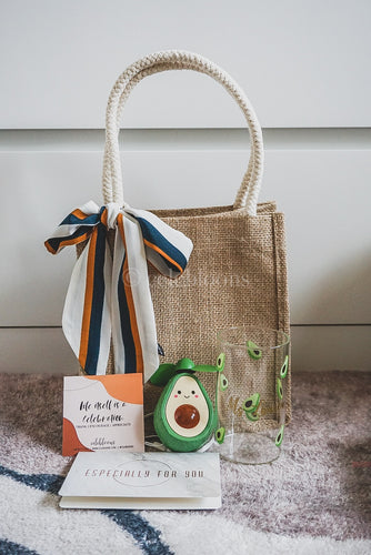 Avocado Collection: Jute Bag with Sash Tie, Customised Mug and Portable Fan
