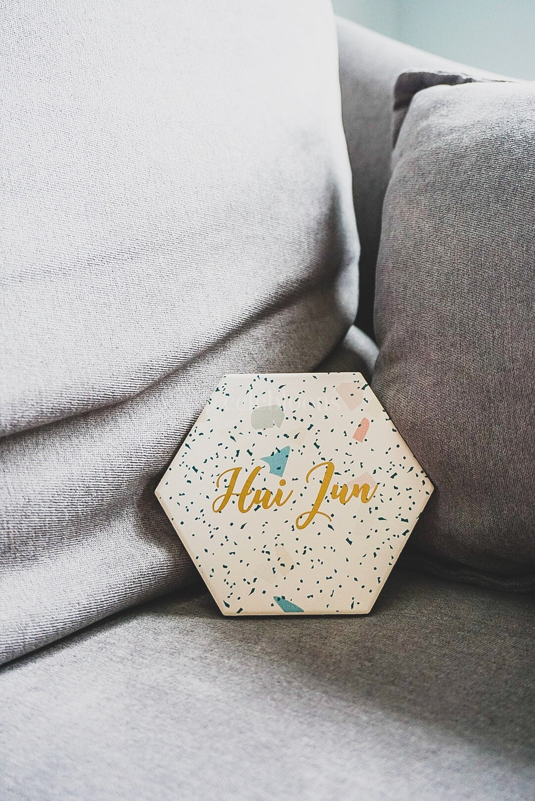 Customised Terrazzo Hexagon Coaster (Multi-colour)