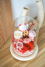 Load image into Gallery viewer, Customised Fortune Cat Dome with Light and Preserved Flowers