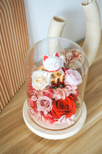 Customised Fortune Cat Dome with Light and Preserved Flowers