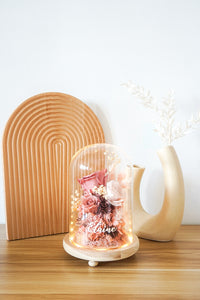 Customised Glass Dome with Triple Preserved Flowers (Medium Pink) and Light