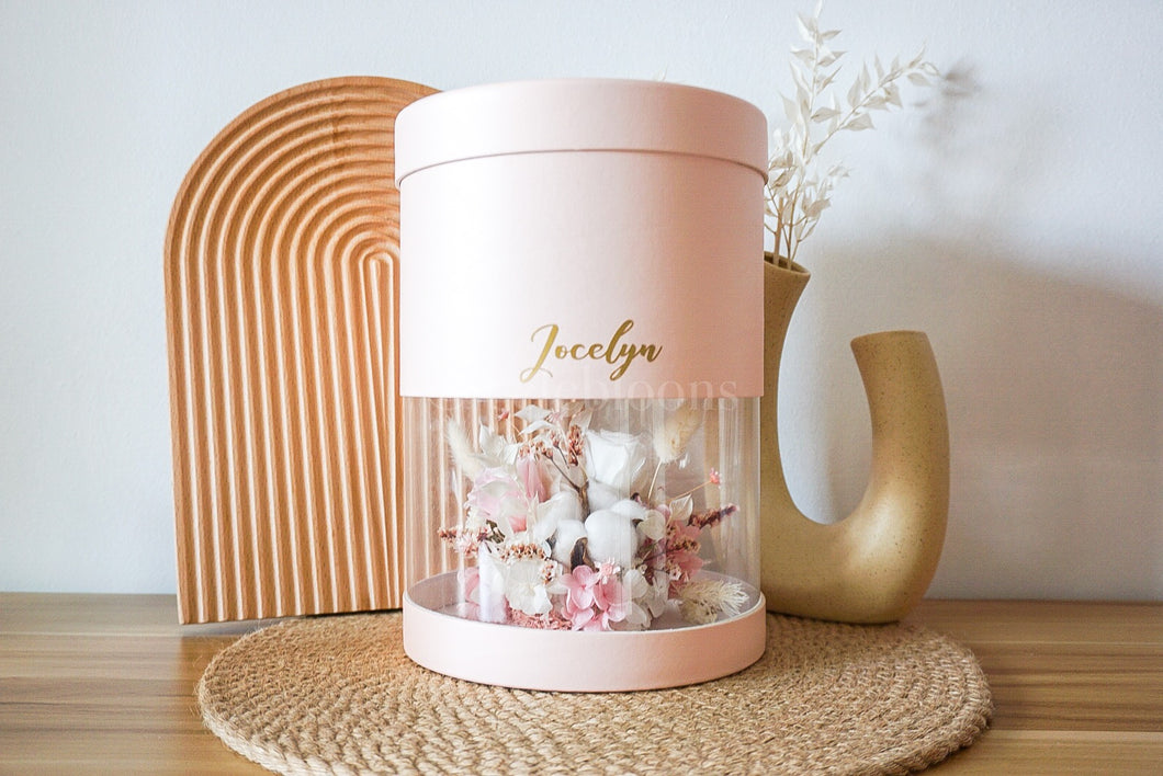 Customised Preserved Floral Cylinder Box with Terrazzo Mug