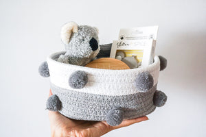 Baby Giftset with Koala Rattle, Koala Silicone Teether, Headband and Customised Plaque (Basket or Box)
