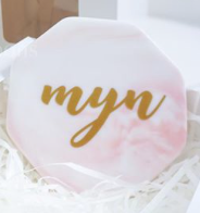 Customised Octagonal Pink Marble Coaster