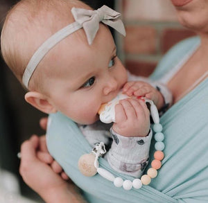 Glitter & Spice Pacifier Clip (Sage Green)