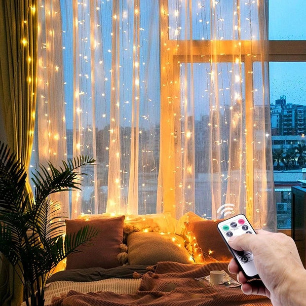 LED Fairy Lights Garland Curtain Lamp Remote Control USB String Lights New Year Christmas Decorations for Home Bedroom Window