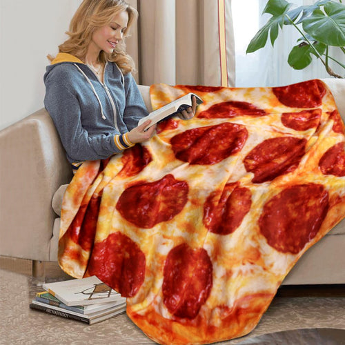 Crazy Pizza Blanket Pita Lavish Food Flannel Blanket for Bed  Fleece Throw Funny Double-sided Plush Bedspread