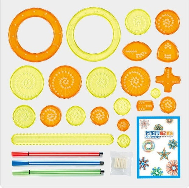 Spirograph Drawing Toy Set Interlocking Gears Wheels Painting