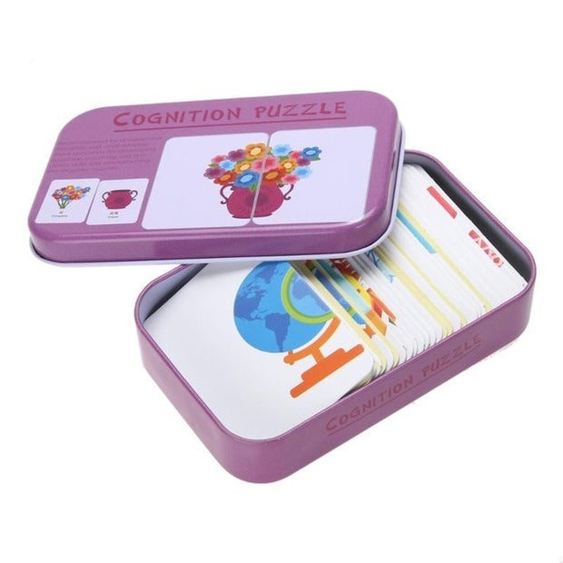 Cognition Puzzles Toys Iron Box Cards Matching Game