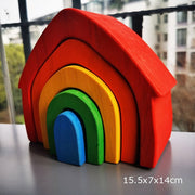 Baby Wooden Educational Toy, Rainbow Stacking Blocks