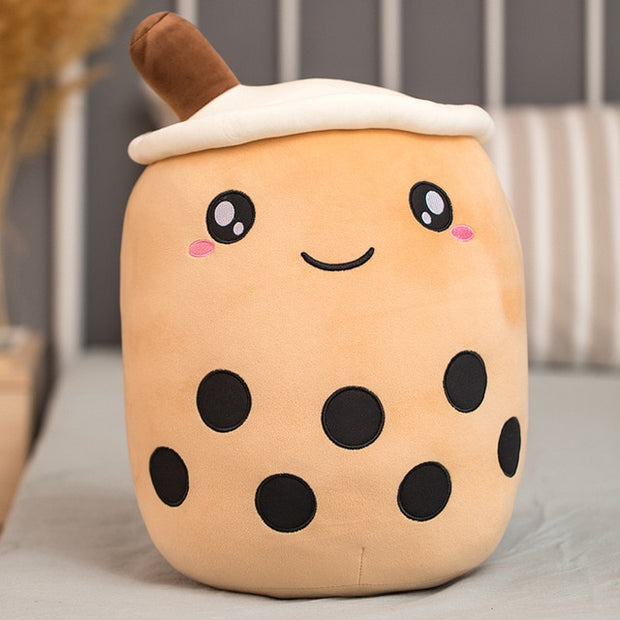 Funny Cartoon Bubble Tea Cup Shaped Pillow Real-life Stuffed Soft Back Cushion Funny Food Gifts For Kids Birthday