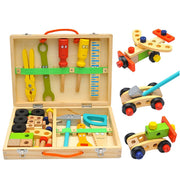 Wooden colored Toolbox Pretend Play Set, Simulation Repair Carpenter Tool
