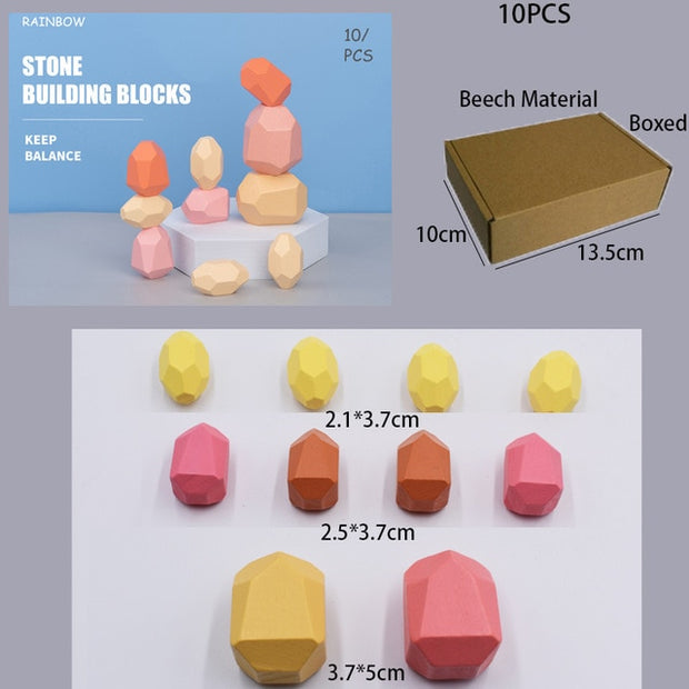 Wooden Colored Stone Jenga Building Block Educational Toy