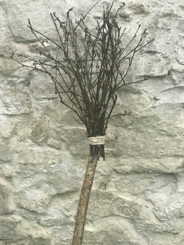 wooden broomstick made from natural materials  for witch play at Hallowe'en