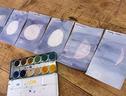 Watercolour resist moon phase pictures