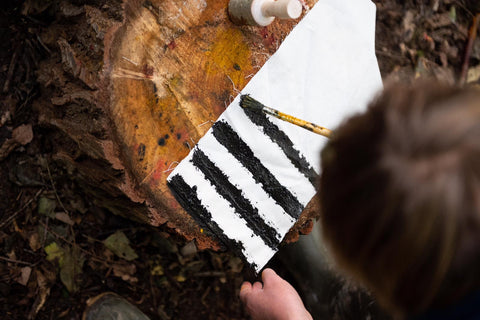 Painting with natural charcoal-black stripes