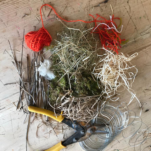 Our collected materials for a DIY hanger for bird nest materials