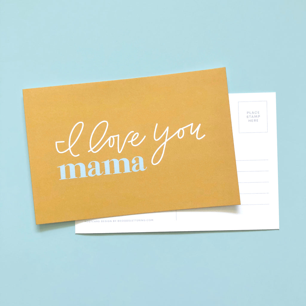 I love you mama postcard
