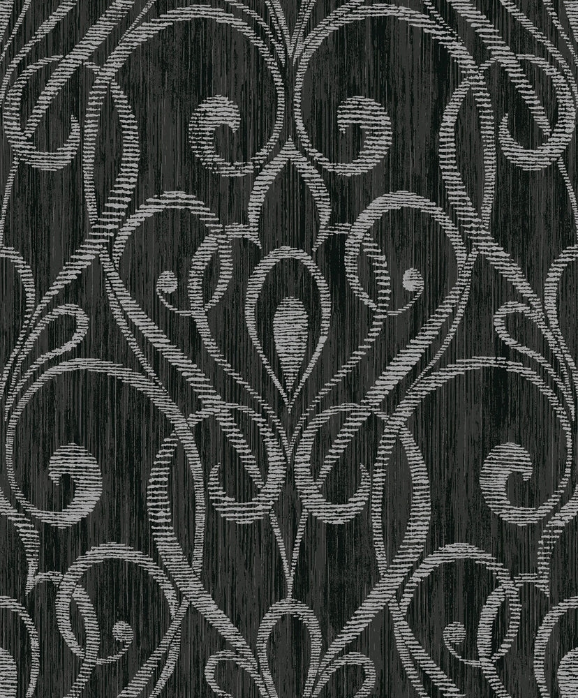 Etten Gallerie Black & White Paisley Damask Wallpaper