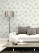 1302400 silver palm botanical wallpaper living room from the Black and White collection by Etten Gallerie