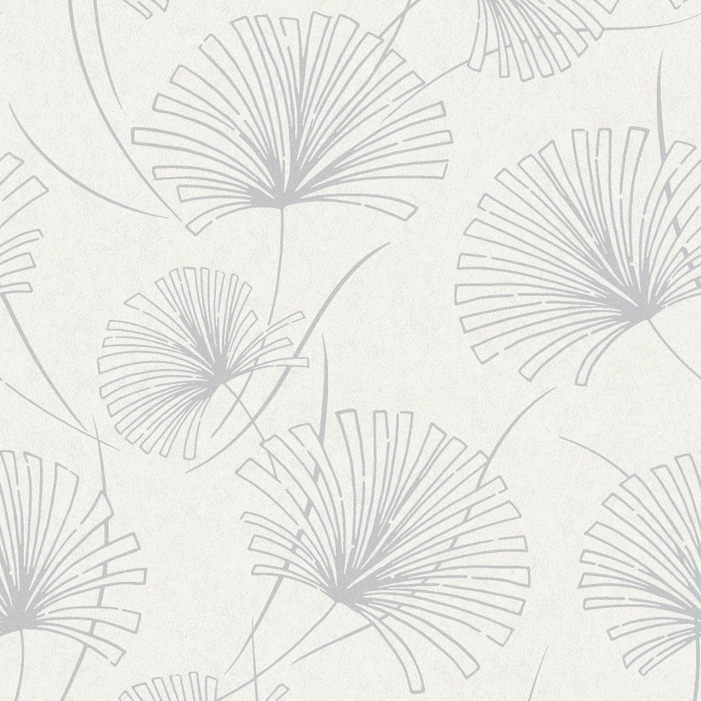 1302400 silver palm botanical wallpaper from the Black and White collection by Etten Gallerie