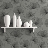1302402 silver palm botanical wallpaper decor from the Black and White collection by Etten Gallerie