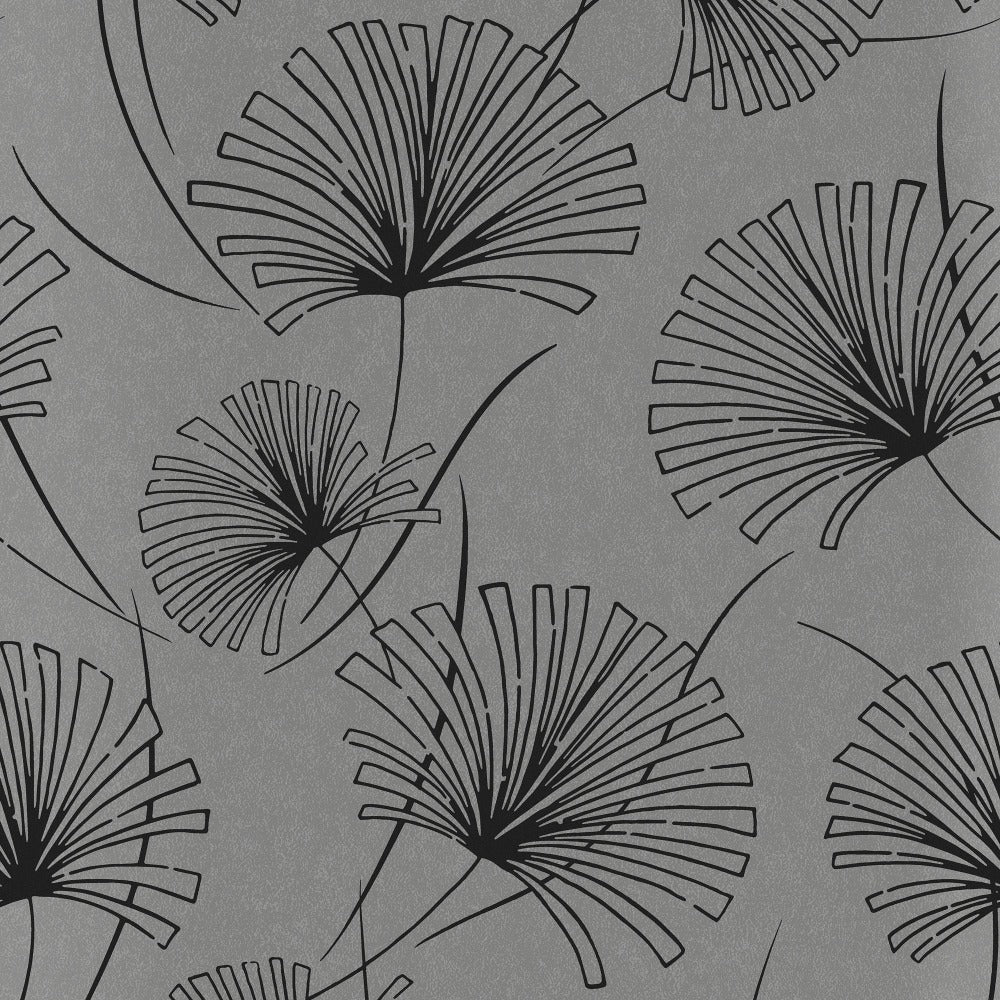 1302402 silver palm botanical wallpaper from the Black and White collection by Etten Gallerie