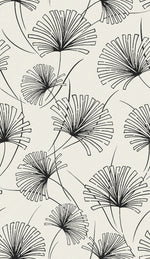 1302410 silver palm botanical wallpaper decor from the Black and White collection by Etten Gallerie