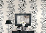 1303200 glitter leaf trail botanical wallpaper entryway from the Black and White collection by Etten Gallerie