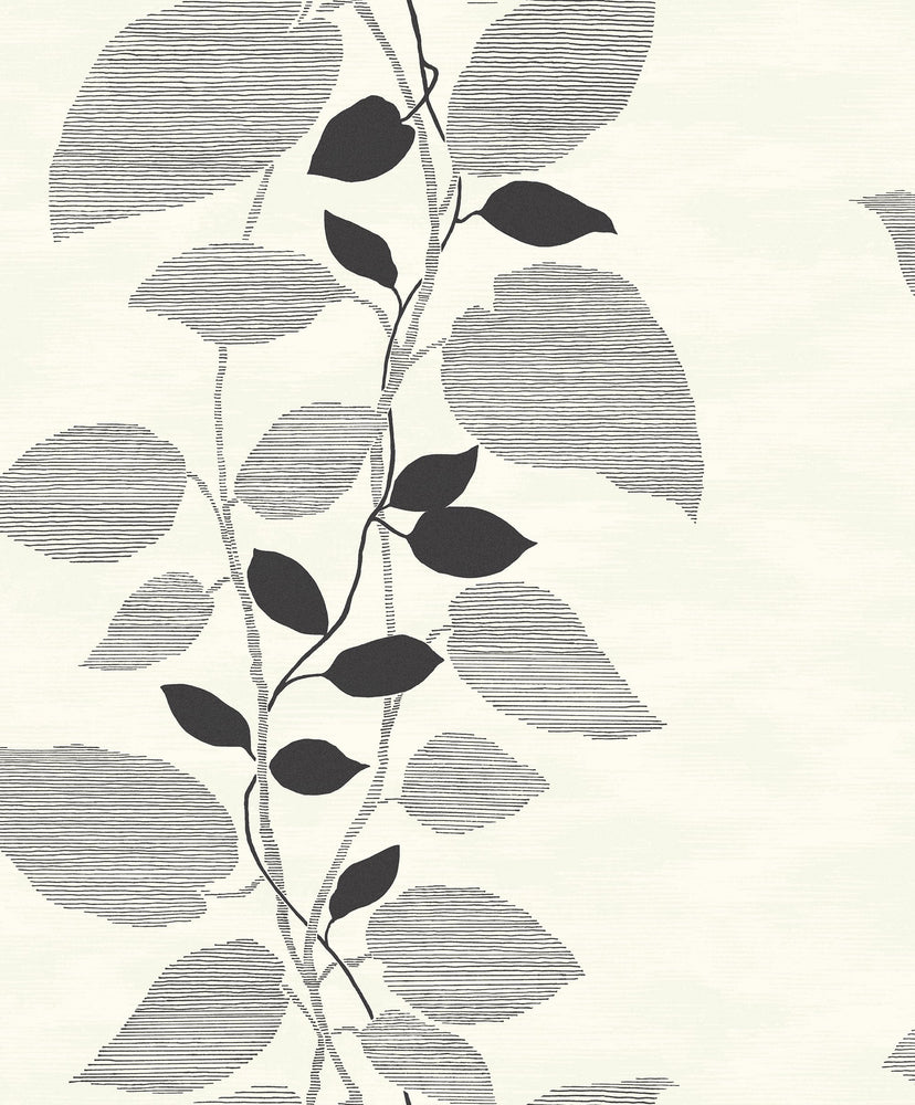 Etten Gallerie Black & White Glitter Leaf Trail Botanical Wallpaper