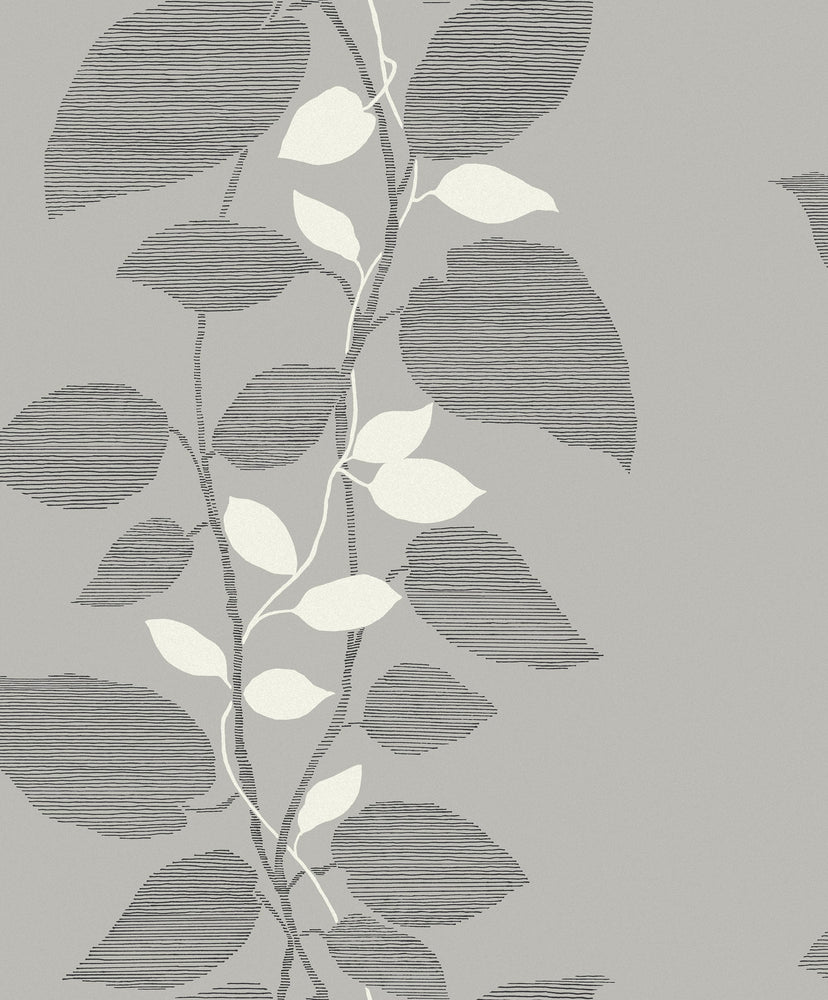 1303201 glitter leaf trail botanical wallpaper from the Black and White collection by Etten Gallerie