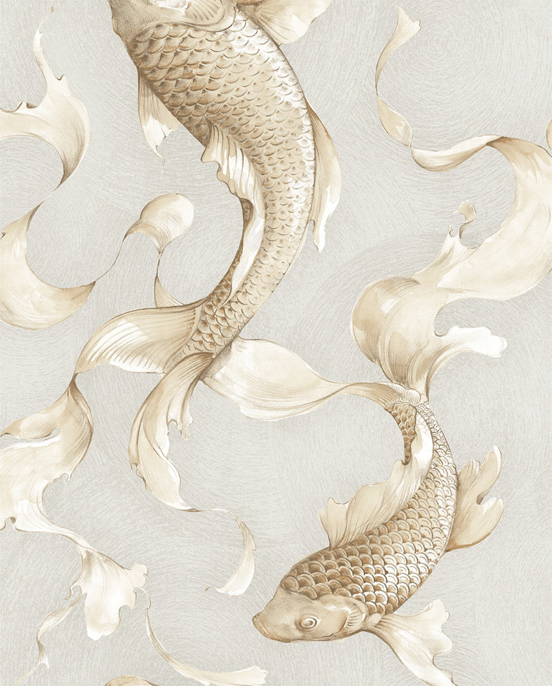 Seabrook Designs Metallic Koi Fish Wallpaper