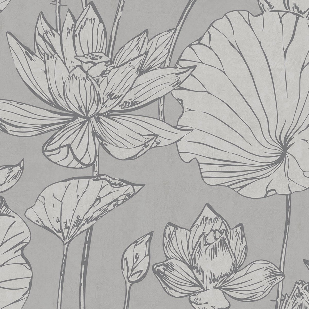 AI42300 lotus floral wallpaper from the Koi collection by Seabrook Designs