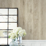 Belhaven Rustic Wood Plank Faux Wallpaper