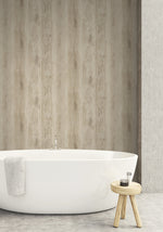 rustic wood wallpaper contemporary bathroom