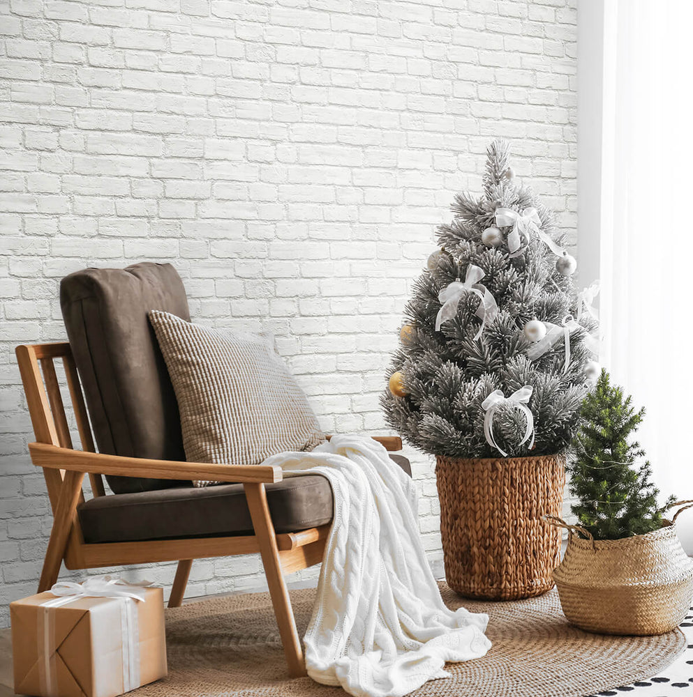 AX10810 winter vintage brick christmas peel and stick removable wallpaper living room from NextWall
